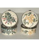 Two Crazy Mountain Porcelain Metal Floral Trinket Boxes with Hinged Lids - $8.00