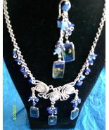 Navy Blue Alpaca Necklace & Earrings (J 8 )  - $19.95