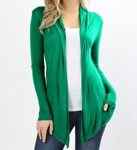 Green Open Front Flyaway Cardigan, Lightweight Rayon Layering Sweater, Womens, M