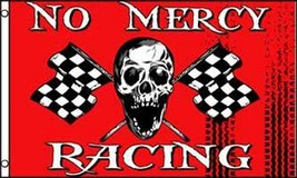 RED NO MERCY CHECKERED RACING  3 X 5 FLAG FL765 banner w grommets SKELET... - $6.27