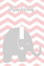 PERSONALIZED BABY ELEPHANT ZIG ZAG PINK CHEVRON LIGHT SWITCH PLATE COVER - $6.25