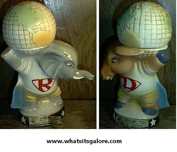 Jim Beam REPUBLICAN ELEPHANT + DEMOCRAT DONKEY decanter set EMPTY