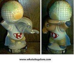 Jim Beam REPUBLICAN ELEPHANT + DEMOCRAT DONKEY decanter set EMPTY - $150.00