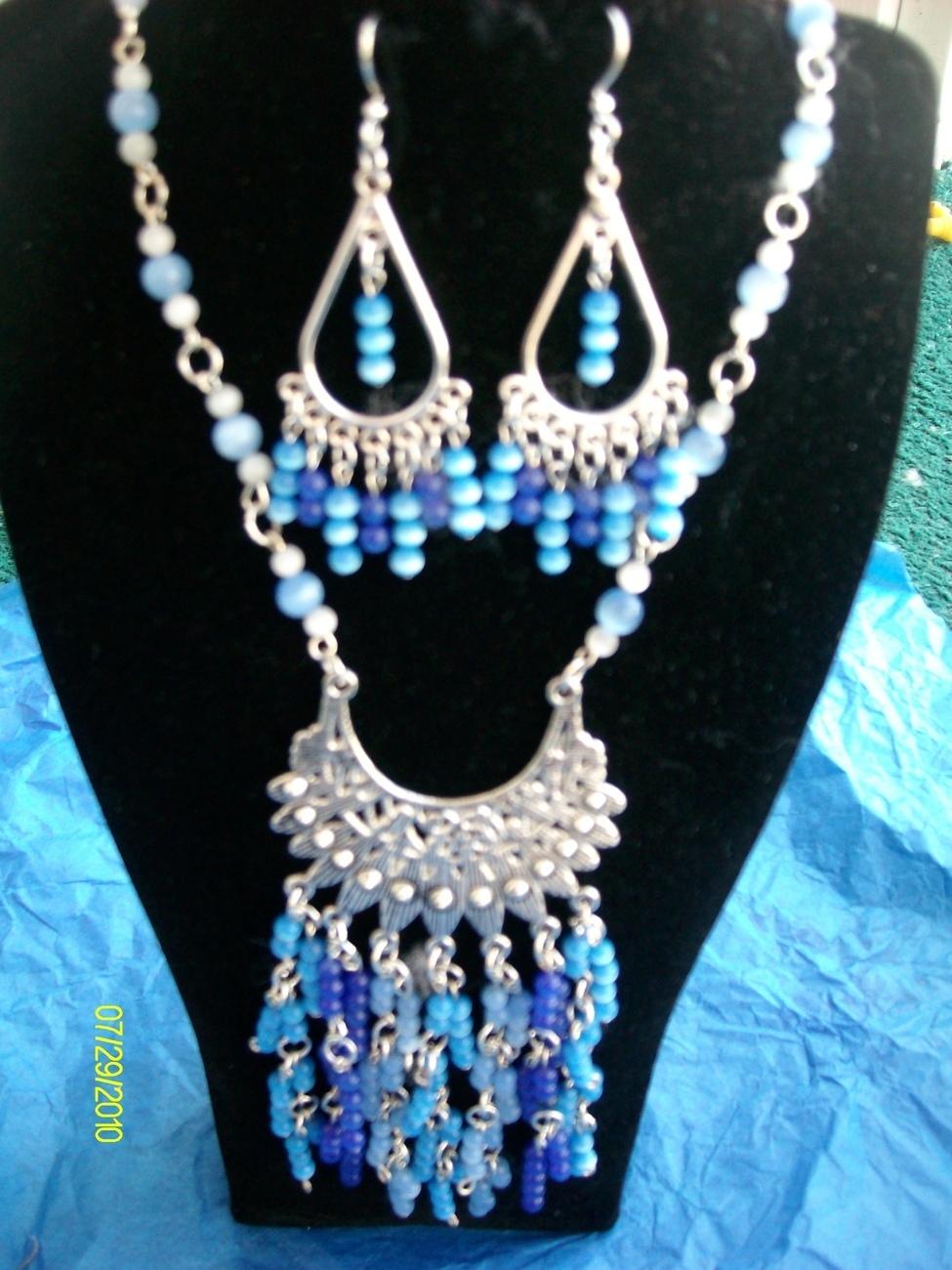 Blue Cat's Eye  Necklace and Earring  Set  (  K 6) Bonanza