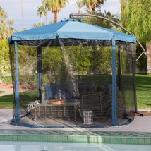 Patio 11 ft.Offset Umbrella Cantilever Mosquito Net Screen Shelter Blue ... - $245.42 CAD