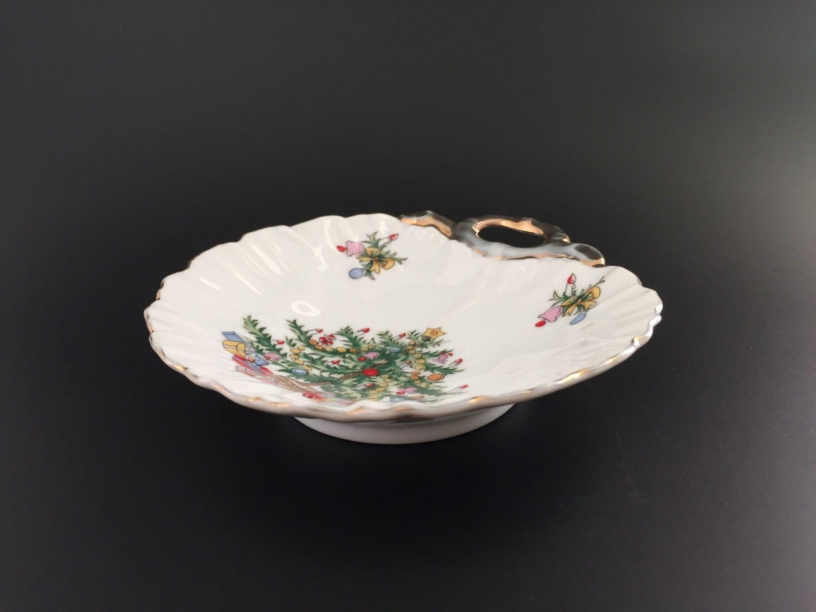 Vintage Lefton China Christmas Tree Bon Bon Dish Candy Trinket Soap Jewelry - $9.95