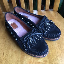 Coach Rexy Roccasin Slip On Mocassin Shoes Black Suede  Charms Size 7.5 $195 New - $133.65