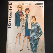 Butterick 3039 1960s Double Breasted Jacket Skirt Suit Vintage Sewing Pa... - $64.34