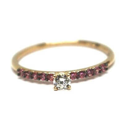 18K ROSE GOLD RING, SOLITAIRE WITH CENTRAL AND ROW PINK & WHITE CUBIC ZIRCONIA