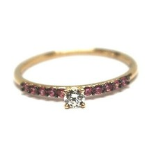18K ROSE GOLD RING, SOLITAIRE WITH CENTRAL AND ROW PINK & WHITE CUBIC ZIRCONIA image 1