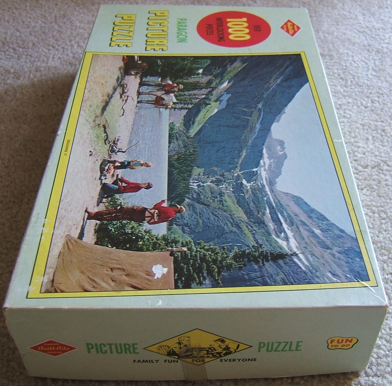 Warren Built Rite Mountain Scene Roughing It Puzzle Original Box USA Vintage 50s