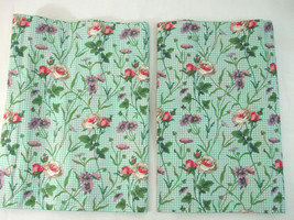 """2 Laura Ashley Blouson Balloon Valance Green Red Roses Mixed Flowers 86"""" X 18""""  - $49.45"""