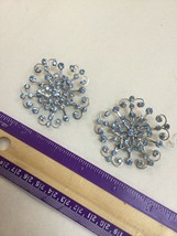 "Large 2"" Vintage Clip On Blue Rhinestone Starburst Earrings - $24.18"