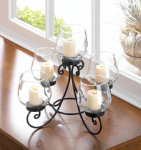 Ornate Black Iron Candle Holder Stand w/ 5 Clear Glass Candle Cups Centerpiece - $37.95
