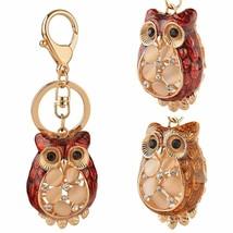 Women Keychain Purse Bag Key Ring Ornament Gift Rhinestone Cute Owl Holl... - $8.05