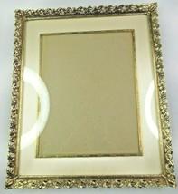 Vintage Art Deco Filigree Gold Tone Metal Picture Frame Velvet Easel & W... - €52,53 EUR