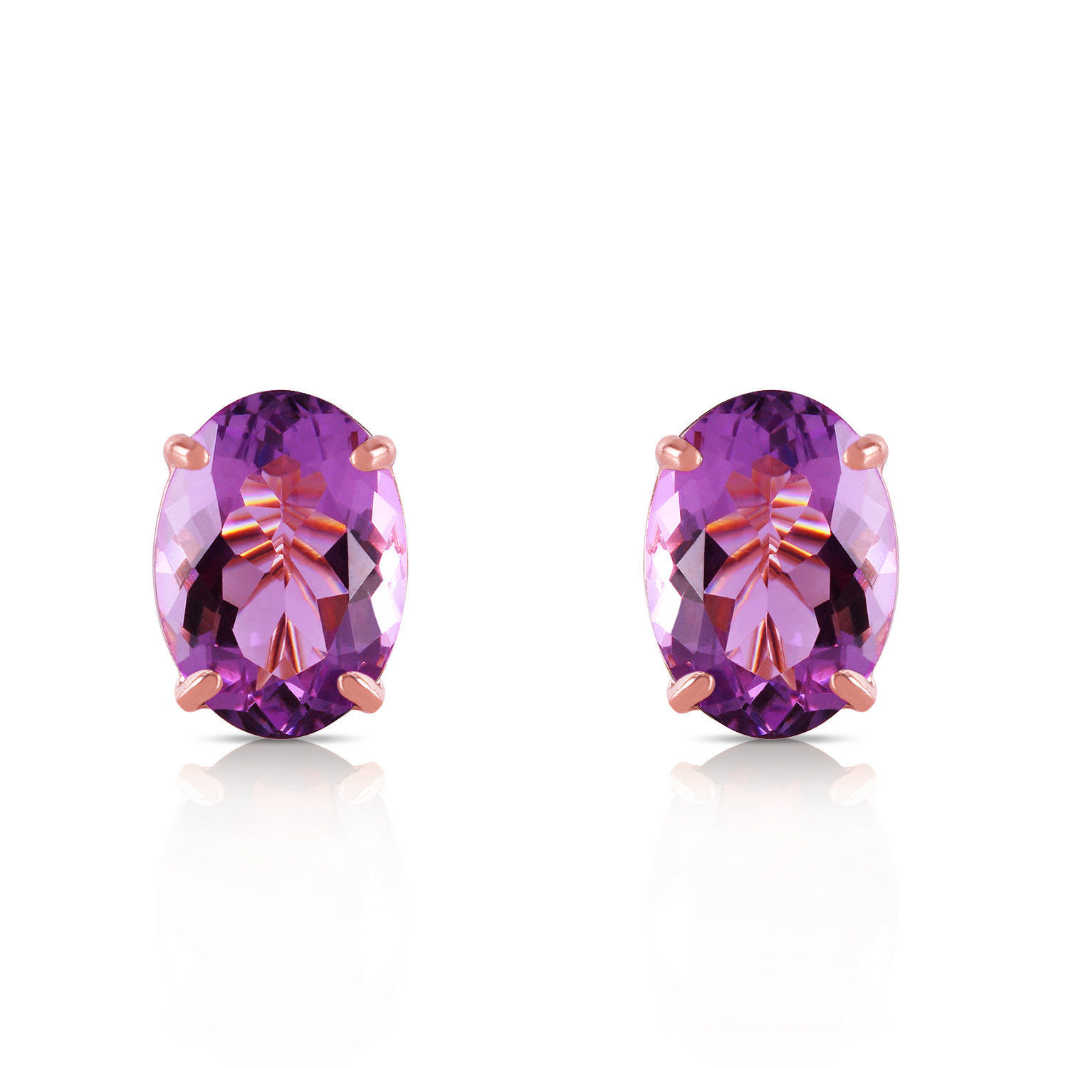Primary image for 1.8 Carat 14K Solid Rose Gold Panache Amethyst Stud Earrings