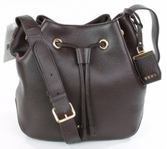 DKNY Donna Karan Dark Brown Leather Drawstring Shoulder Bag - $228.38