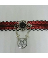 Black & Red Lace Choker with Inverted pentagram - $26.00