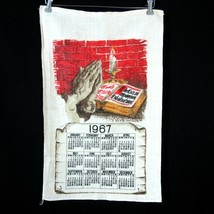 Vintage 1967 Linen Calendar Towel 1967 23rd Psalm Bible Praying Hands - $19.79
