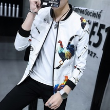 2018 Spring and Autumn New Fashion Men's Slim Fit Black Jacket Men's Printing Br image 8