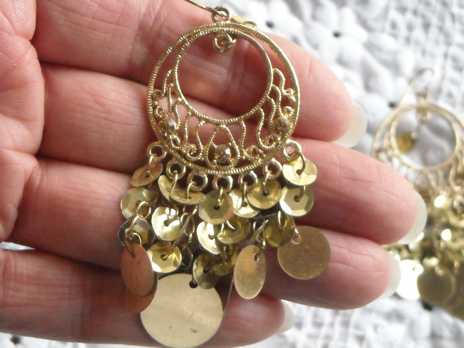 Vintage Earrings Chandelire Hook Gold Tone Filigree With Gold Sequins Chacha  image 2