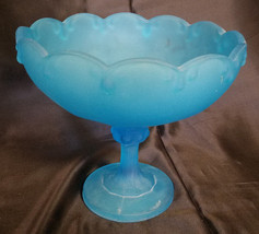 Vtg Indiana Glass Blue Frosted Garland/Teardrop Lg Open Compote, circa 1... - $27.00