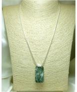 Natural Seraphinite Gemstone Sterling Silver Pendant Rectangle Green  - $42.00