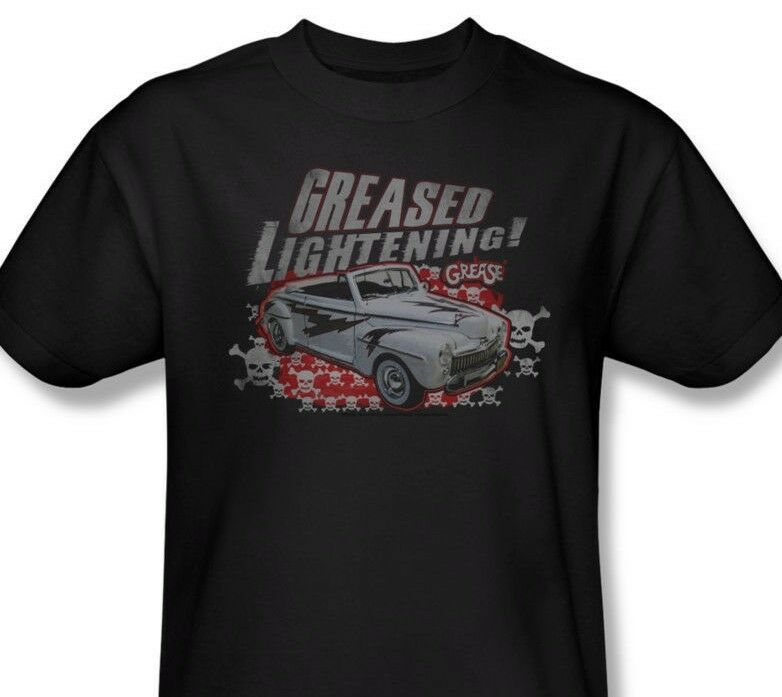 Grease T-shirt Greased Lightning 100% cotton black 70s classic movie tee PAR273