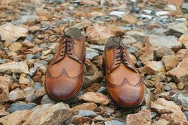 Handmade Men's Brown Wing Tip Brogues Lace Up Dress/Formal Oxford Shoes image 5