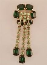1960's Green Emerald Cut Rhinestone Light Green Dangling Drops Brooch  E... - $37.62