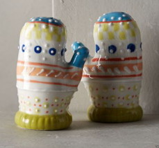 Anthropologie Winter Mittens Salt & Pepper Shakers Stoneware Mother Host... - $30.59