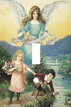 THE CHILDRENS GAURDIAN ANGEL ART LIGHT SWITCH PLATE COVER - £4.73 GBP