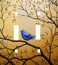 BEAUTIFUL BLUE BIRD ON TREE BRANCHES DOUBLE LIGHT SWITCH PLATE COVER - $7.25