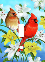 CARDINAL PAIR ON FLOWERS LIGHT SWITCH PLATE COVER - $6.25