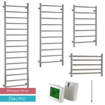 AURA Ronda ELECTRIC Heated Towel Rail / Warmer + WIRELESS TIMER, Chrome - ₨22,977.25 INR