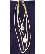 Stunning Vintage Goldette Necklace Portrait Intaglio And Gold Locket - $34.65