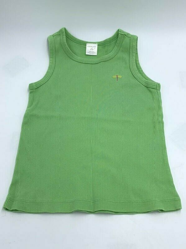 Crewcuts J Crew Girls 6 7 L Green Ribbed Dragonfly Tank Top - $9.99