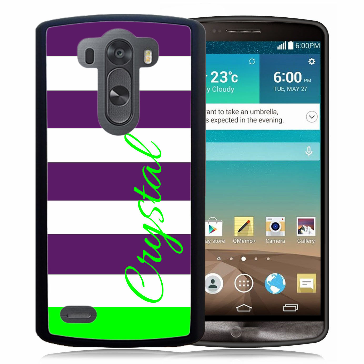 PERSONALIZED RUBBER CASE FOR LG G6 G5 G4 G3 PURPLE LIME GREEN STRIPES