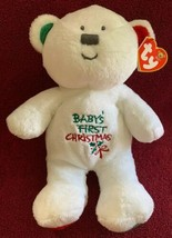 """Ty Pluffies 2006 Baby's 1ST First Christmas White Teddy Bear Mwmt Plush 10"""" - $29.69"""