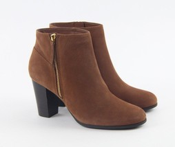 Cole Haan Davenport Brown Sequoia Nubuck Leather Stacked Ankle Bootie Boots - $54.95