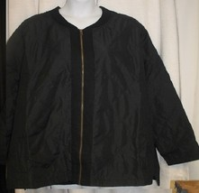 NEW WOMENS PLUS SIZE 34W/36W  BLACK  QUILTED BOMBER JACKET WITH FRONT PO... - $36.76