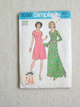 Vintage UNCUT 1975 Simplicity Jiffy Dress Pattern #7030 Size 20 1/2 Bust 43 - $4.94
