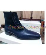 Handmade Men Button boots, Men Navy blue ankle boots, Mens boots, Leathe... - $179.99