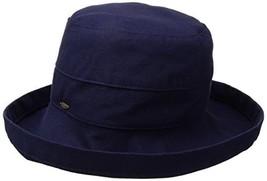 SCALA Women's Medium Brim Cotton Hat, Navy, One Size - $45.63