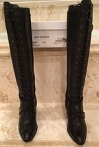 Givenchy Black Lace Up Boots Wedge Heel Perfect Condition 38.5 - $550.00