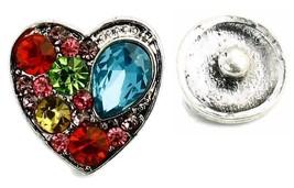 Interchangeable Button Snap Jewelry Multi Color Teardrop Heart 18mm 1273-2 - $5.92