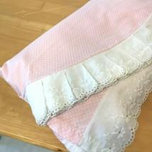 Vintage 1970s Sybil Shepard Pink Swiss Dot Bedspread Eyelet Lace Twin Si... - $39.95