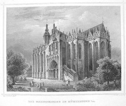 GERMANY Muhlhausen St. Mary's Church - 1860 Original Engraving Print - $16.83
