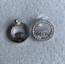 SALE***Authentic Chanel CC Circle Logo Crystal Strass Silver Stud Earrings  image 2